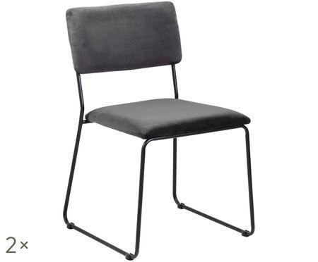 Stolička so zamatovým čalúnením Cornelia, 2 ks