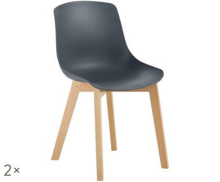 Stolička z umelej hmoty Joe v štýle scandi, 2 ks