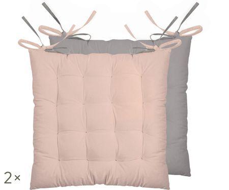 Dubbelzijdig zitkussen Duo roze/grijs, 2 stuks