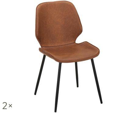 Chaises en cuir synthétique rembourrées Louis, 2pièces