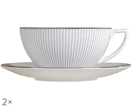 Service de tasses à thé Pin Stripe, 4élém.