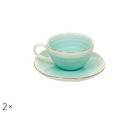 Fatto a mano tazze da espresso con piattini Bol con Goldrand, 2 pz.