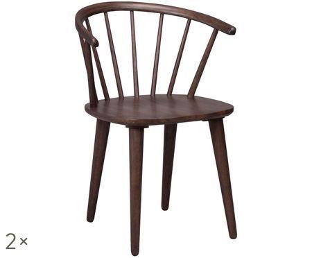 Chaises en bois à accoudoirs Carmen, design Windsor, 2pièces