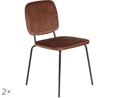 Fluweel gestoffeerde stoelen Clyde, 2 stuks
