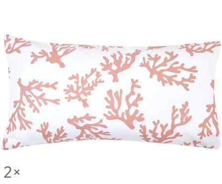 Povlak na polštář zbavlněného saténu s korály Cora, 2ks