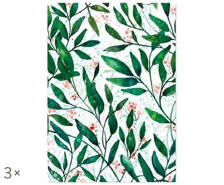 Geschenkpapier-Rollen Green Leaves, 3 Stück