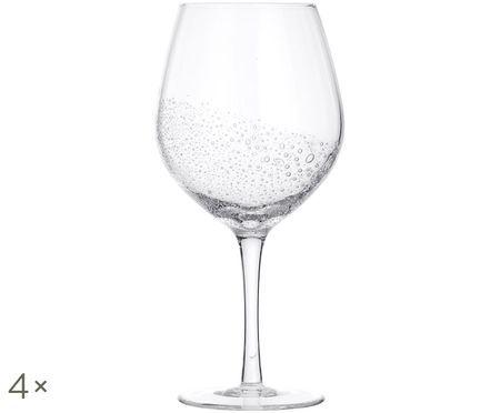 Ručne fúkaný pohár na červené víno Bubble, 4 ks