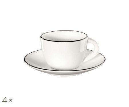 Service de tasses à espresso À Table ligne noire, 8élém.