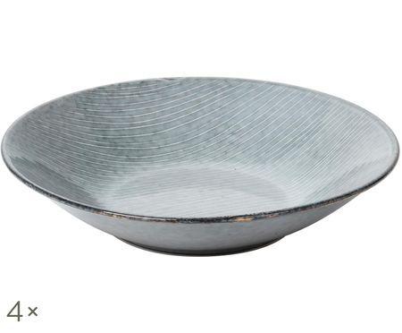 Handgefertigte Suppenteller Nordic Sea, 4 Stück