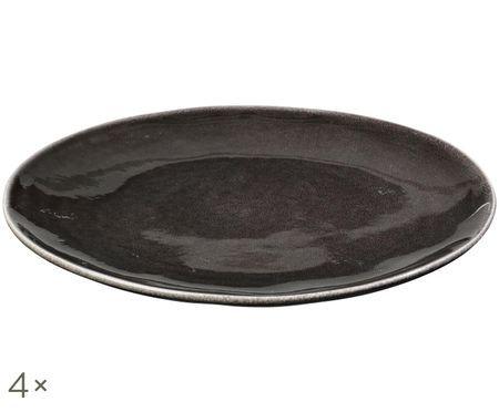 Handgefertigte Speiseteller Nordic Coal, 4 Stück