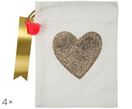 Sacs cadeau Heart, 4 pièces