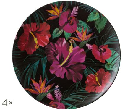 Platos llanos Tropical Flower, 4 uds.