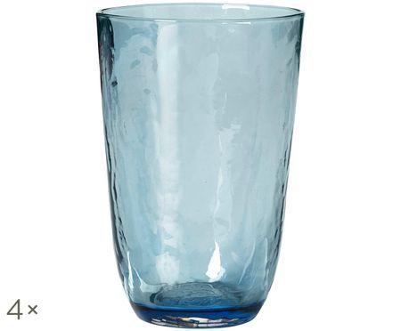 Szklanka do wody ze szkła dmuchanego  Hammered, 4 szt.