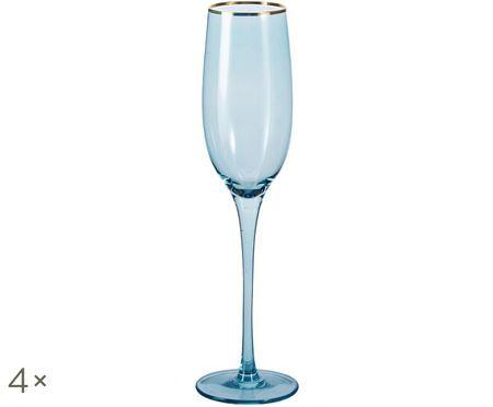 Flute da champagne Chloe in blu con bordo dorato dipinto a mano, 4 pz. nel set