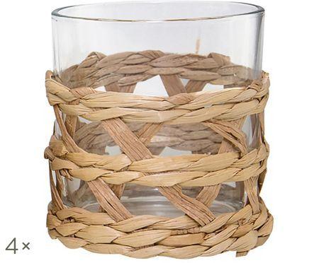 Wassergläser Osier mit stilvollem Grasgeflecht, 4er-Set