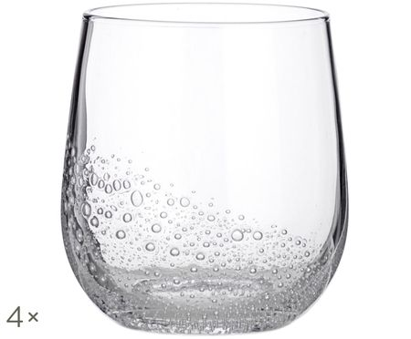 Vasos de agua soplados Bubble, 4uds.