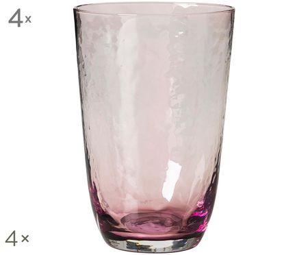 Bicchieri per l'acqua in vetro soffiato Hammered, 4 pz.