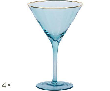 Bicchiere da martini Chloe in blu con bordo dorato, 4 pz.