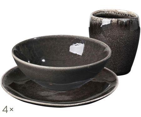 Ręcznie wykonany komplet naczyń śniadaniowych Nordic Coal, 12 elem.