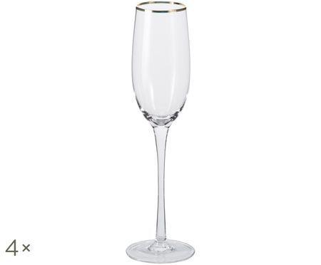 Flute da champagne Chloe trasparente con bordo dorato dipinto a mano, 4 pz. nel set