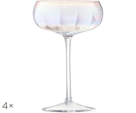 Mondgeblazen champagneglazen Pearl met paarlemoer glans, 4-delig