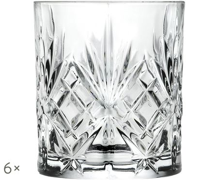 Verres à whisky en cristal à motifs embossésMelodia, 6pièces