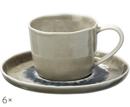 Tazza e piattino Porcelino Sea, 6 pezzi