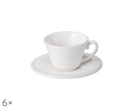 Tazze da espresso con piattini Constance in bianco, 6 pz.
