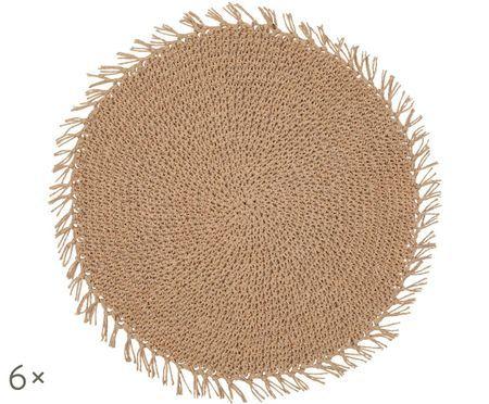 Runde Tischsets Tressine aus Papierfasern, 6 Stück
