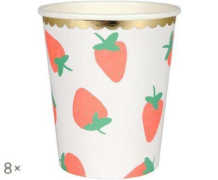 Kubek z papieru Strawberry, 8 szt.