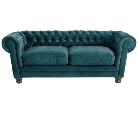 Fluwelen chesterfield bank Sally (2-zits)