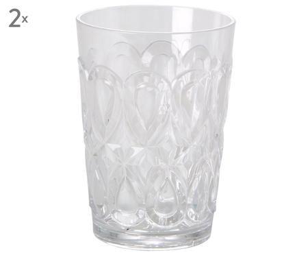 Acryl-Gläser Swirly mit verzierendem Relief, 2er-Set