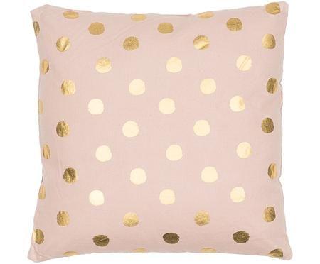 Rosa Kissen Dots mit goldenen Punkten, mit Inlett