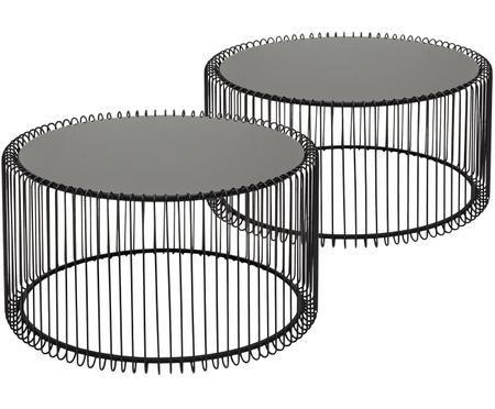Set 2 tavolini da salotto con piano in vetro Wire