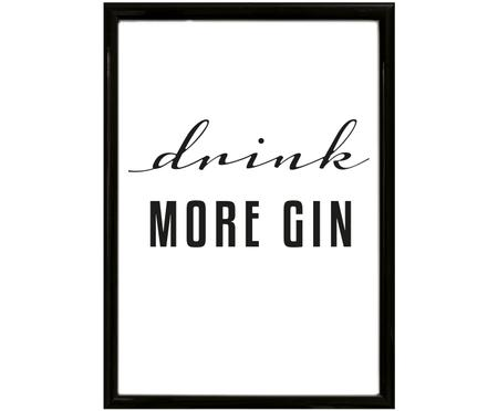 Ingelijste digitale print Drink More Gin