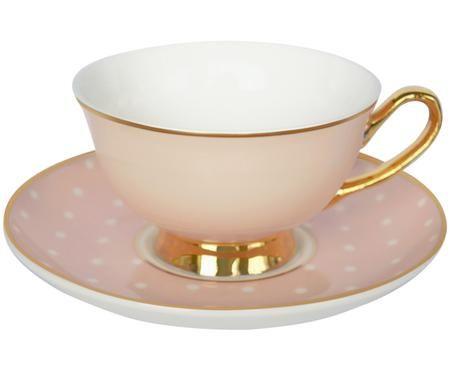 Teetasse mit Untertasse Spotty mit Goldelementen und Punkten