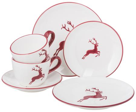 Koffieservies Classic Red Deer, 6-delig.