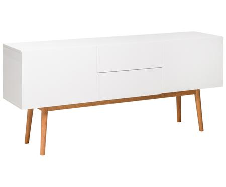 Sideboard High on Wood in Weiss Hochglanz