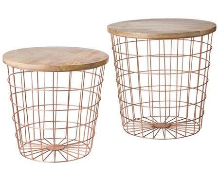 Set 2 tavolini con base in metallo Settle
