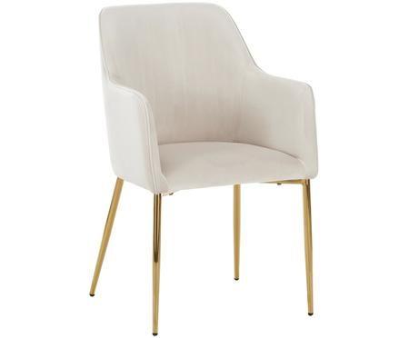 Chaise en velours à accoudoirs, avec pieds dorés Ava
