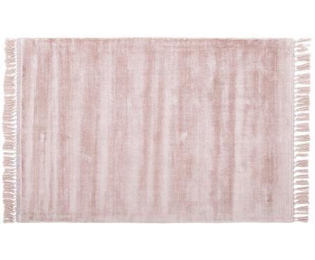 Handgewebter Viskoseteppich Aria mit Fransen in Rosa