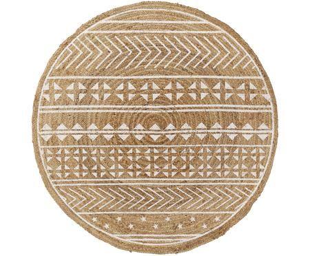 Runder Teppich Cecile mit weißem Ethno Print