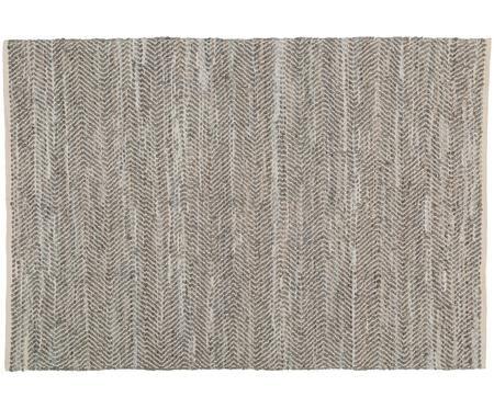 Handgewebter Lederteppich Zigzag in Beige-Grau