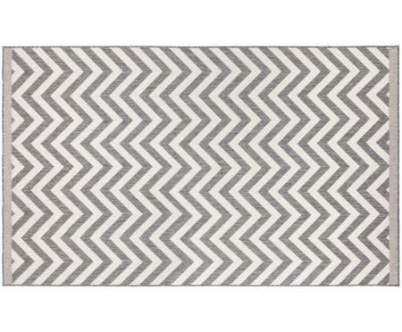 In- und Outdoor-Wendeteppich Palma in Grau-Weiß mit Zickzack-Muster