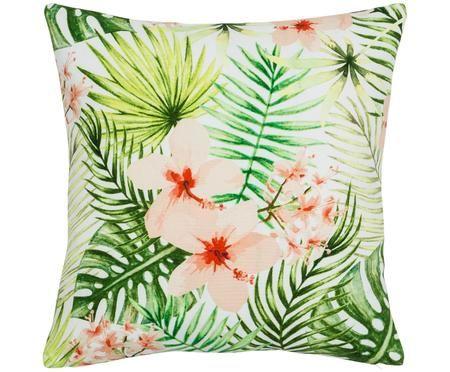 Kissenhülle Jenna mit tropischem Muster in Grün/Rosa