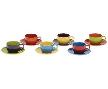 Espressotassen mit Untertassen Harlequin, 6 Stück