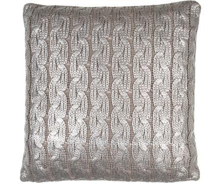 Strick-Kissenhülle Trenes schimmernd/glänzend in Taupe und Silber