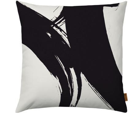 Housse de coussin à imprimé abstrait en noir et blanc Dune