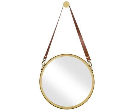 Okrągłe lustro ścienne ze skórzaną pętlą Liz