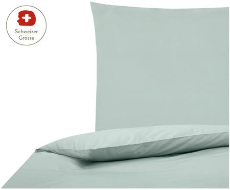 Perkal-Bettdeckenbezug Elsie in Salbeigrün